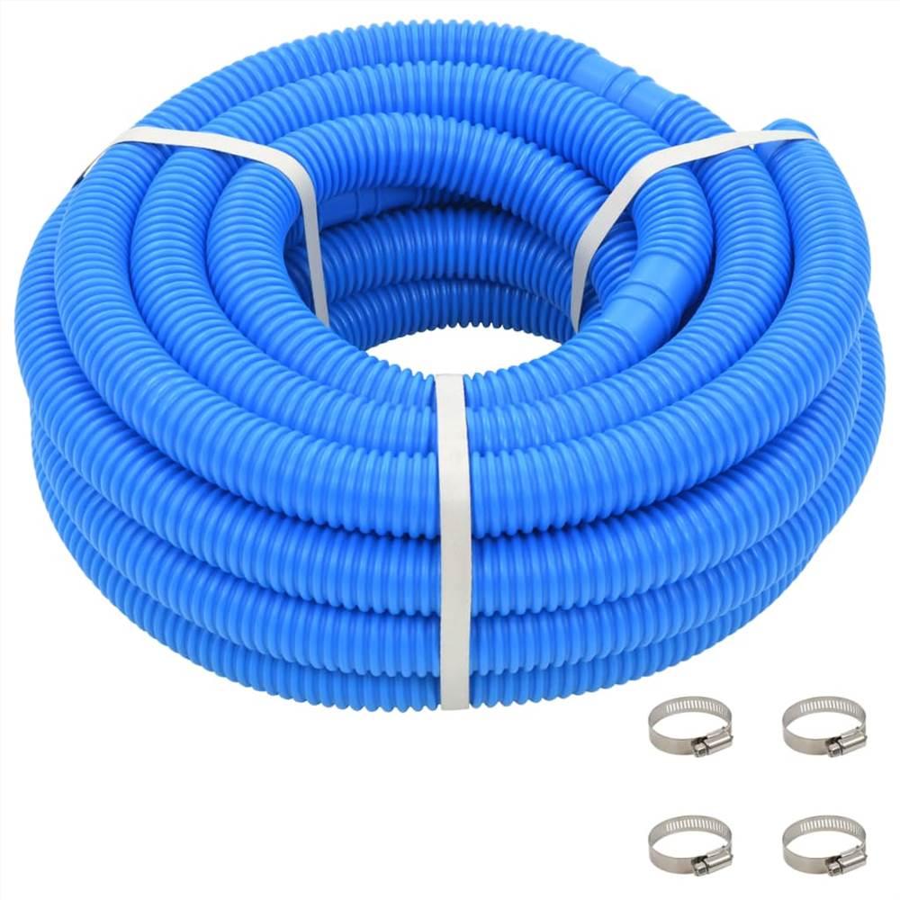 Tuyau de piscine avec colliers Bleu 38 mm12 m