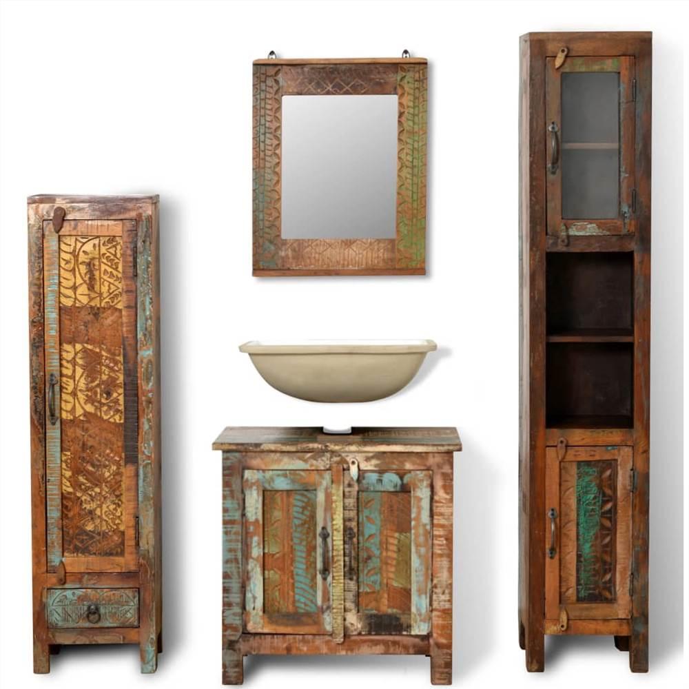 Ensemble de meuble-lavabo en bois massif récupéré avec miroir et 2 armoires latérales