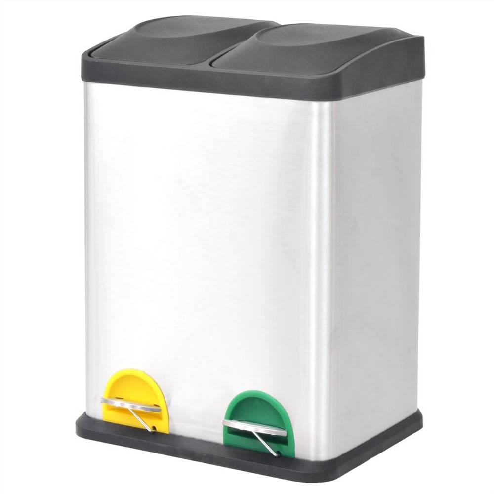 リサイクルペダルビンゴミ箱ゴミ箱ステンレス鋼2x18L