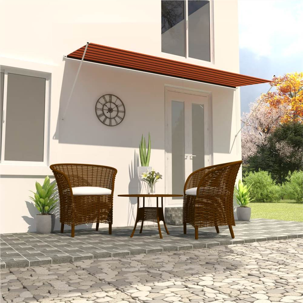 Retractable Awning 400x150 cm Orange and Brown