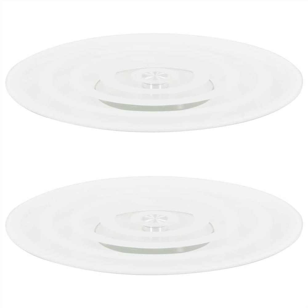 Rotating Serving Plates 2 pcs Transparent 30 cm Tempered Glass