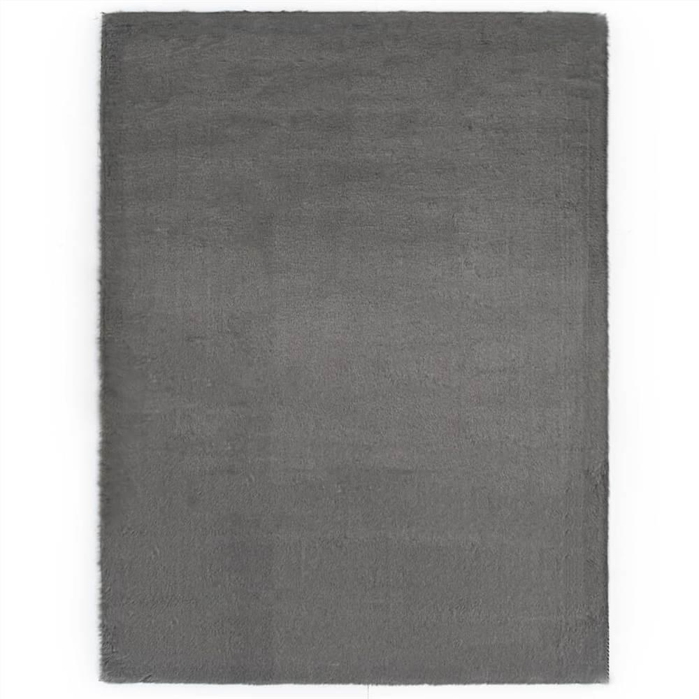 Rug 80x150 cm Faux Rabbit Fur Dark Grey