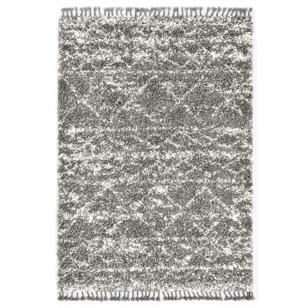 Teppich Berber Shaggy PP Grau und Beige 160x230 cm