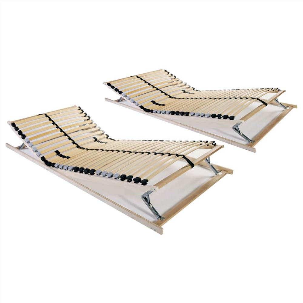 Slatted Bed Bases 2 pcs with 28 Slats 7 Zones 90x200 cm