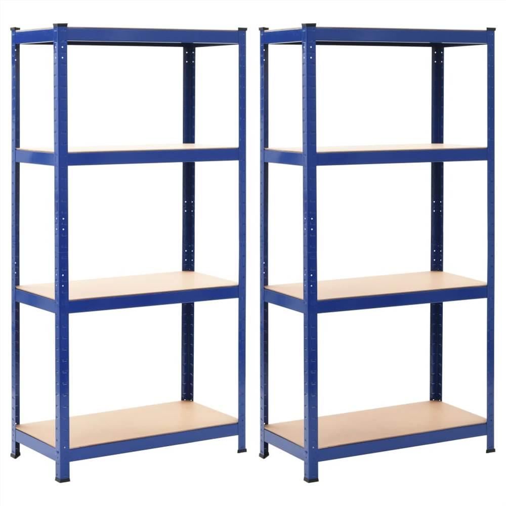 Ripiani Portaoggetti 2 pz Blu 80x40x160 cm Acciaio e MDF
