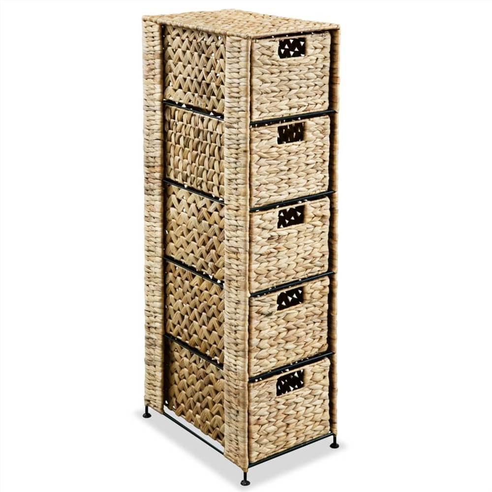 Storage Unit with 5 Baskets 25.5x37x100 cm Water Hyacinth