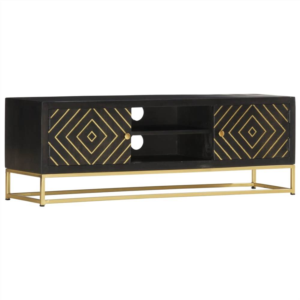 TV Cabinet Black and Gold 120x30x40 cm Solid Mango Wood