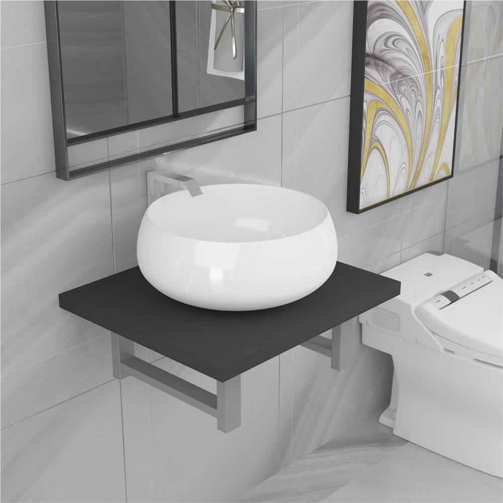 Ensemble de deux meubles de salle de bain en céramique gris