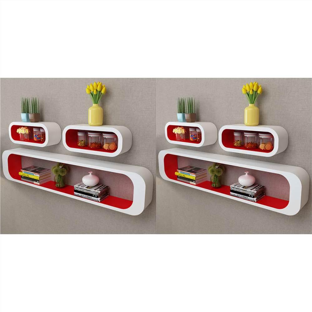 Étagères Wall Cube 6 pcs Rouge et Blanc
