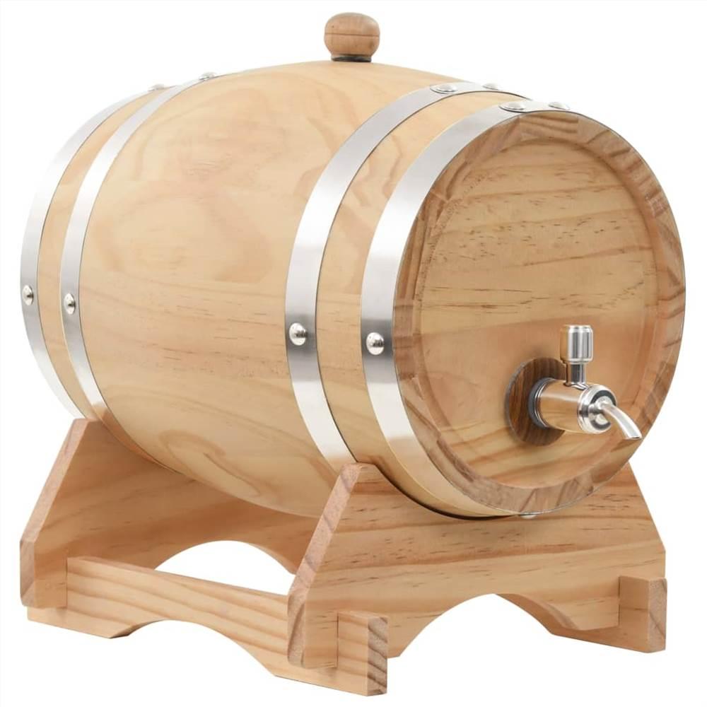Tonneau à vin avec robinet en pin massif 6 L
