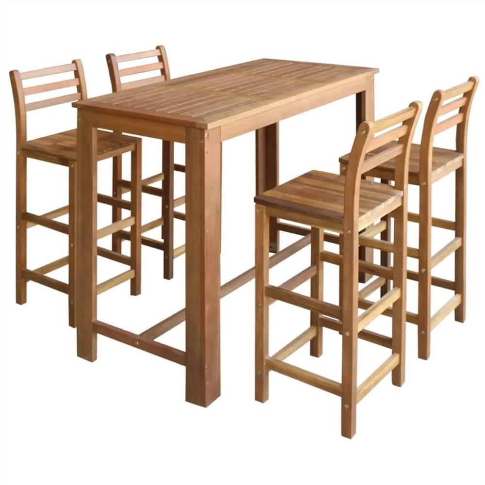 Stehtisch und Stuhl Set 5 Stück massives Akazienholz