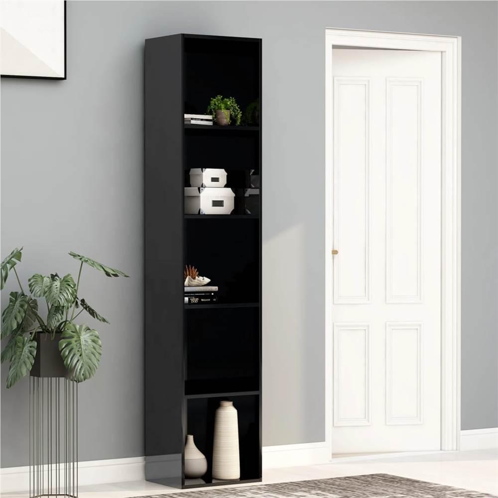 Armoire à livres noir brillant 40x30x189 cm aggloméré