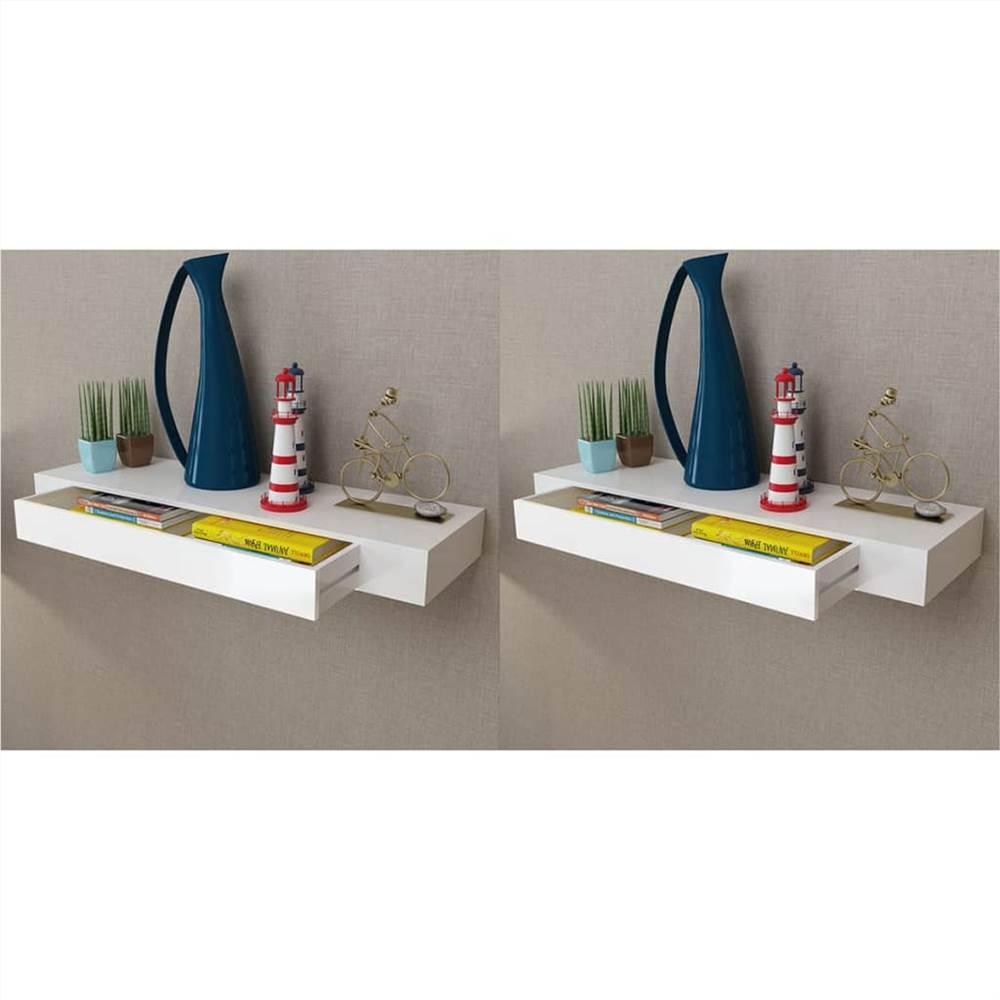 Schwimmende Wandregale mit Schubladen 2 Stk. Weiß 80 cm