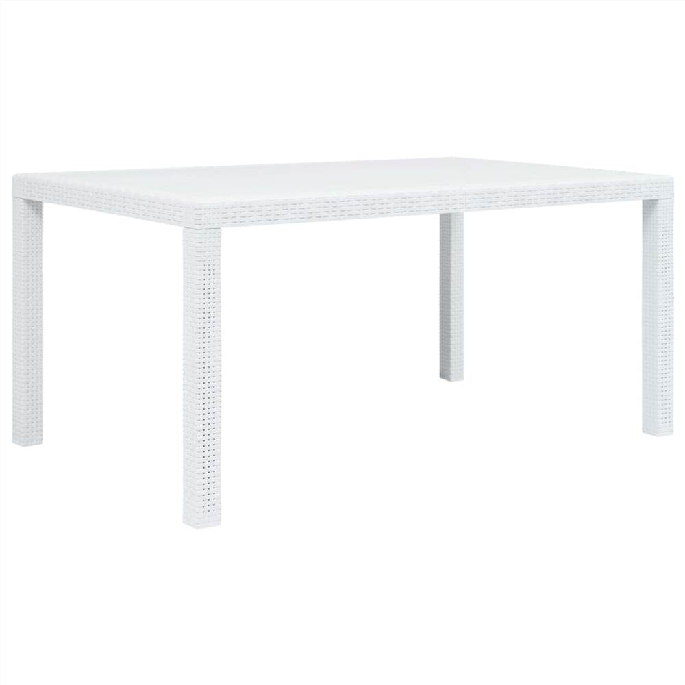 Garden Table White 150x90x72 cm Plastic Rattan Look