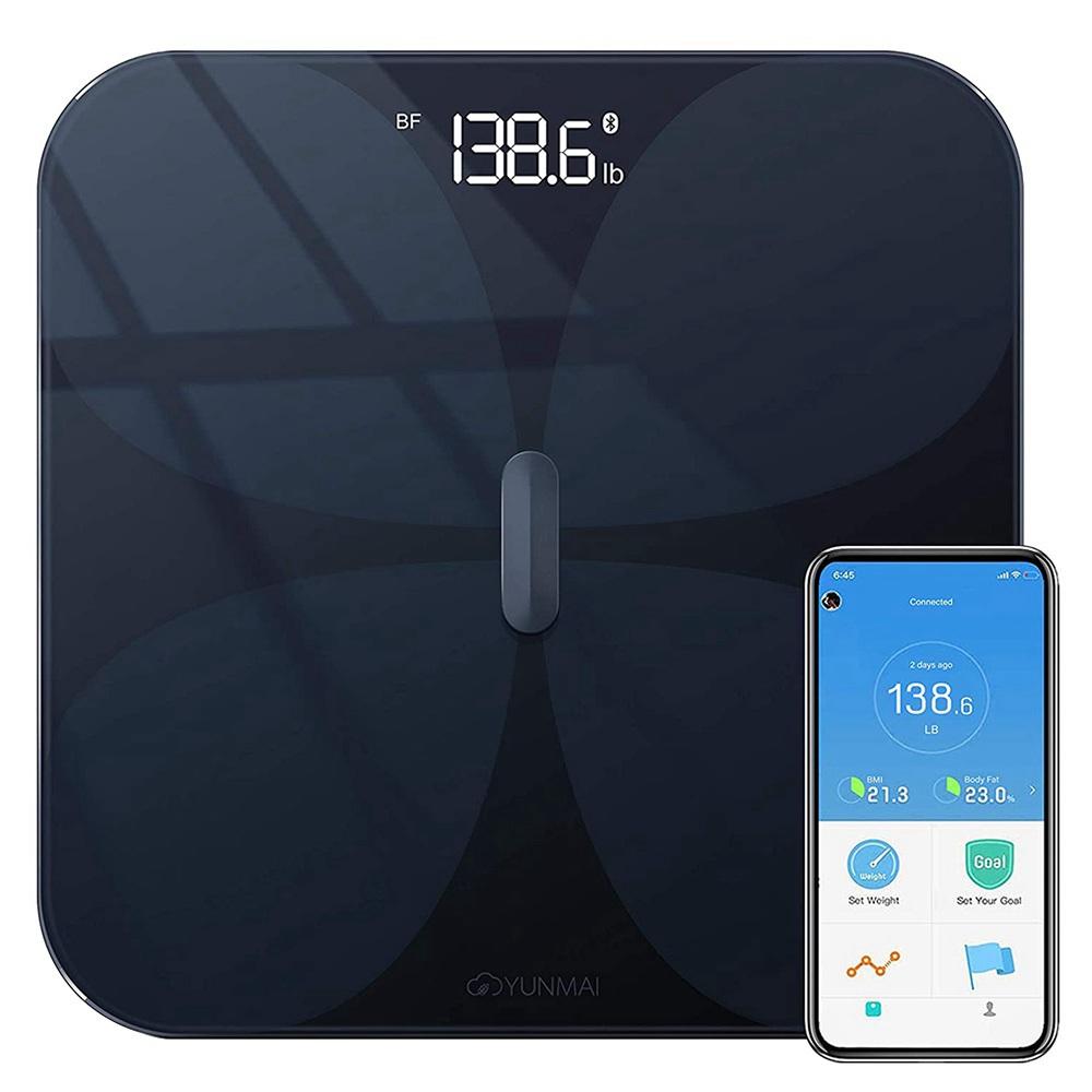 YUNMAI Pro Smart Bluetooth Body Fat Scale Επαναφορτιζόμενη μπαταρία APP Control - Μαύρο