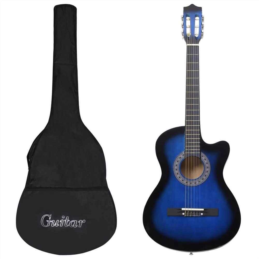 Ensemble de 12 guitares acoustiques occidentales avec 6 cordes bleu 38