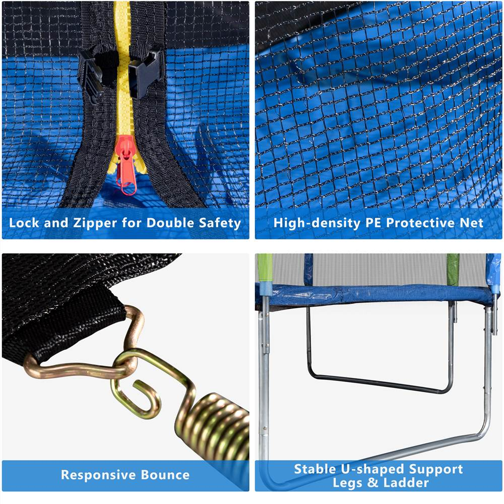12FT Trampoline for Kids with Safety Enclosure Net, Ladder and 8 Wind Stakes, Round Outdoor Recreational Trampoline