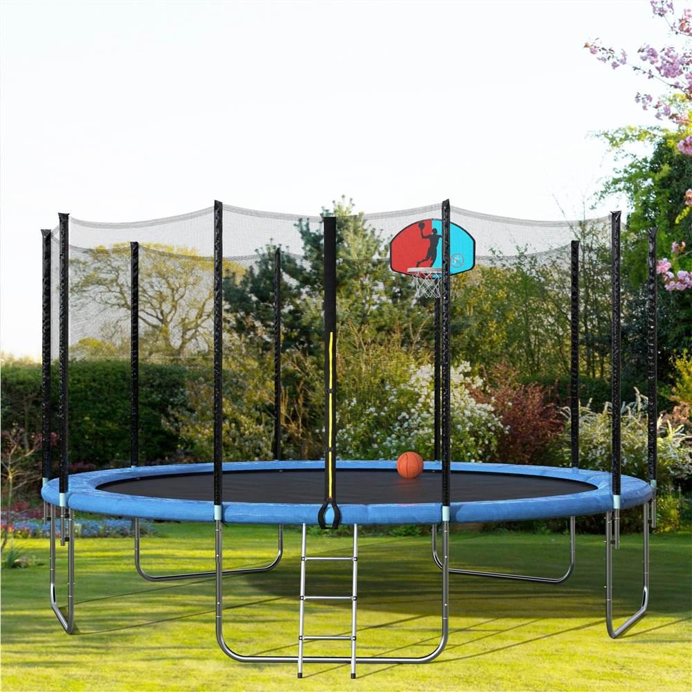Merax 15 FTラウンドトランポリン、安全エンクロージャー、バスケットボールフープ、ラダー大人の子供用屋外ジャンプトランポリン-ブルー