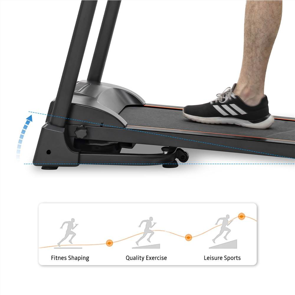 Compact Easy Folding Treadmill Motorized Running Jogging Machine with Audio Speakers and Incline Adjuster