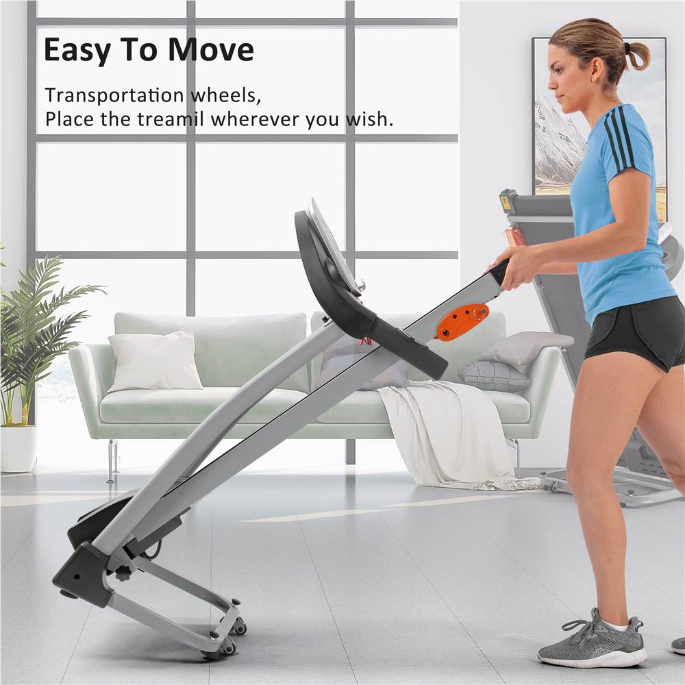 Easy Folding Treadmill for Home Use, 1.5HP Electric Running, Jogging & Walking Machine with Device Holder & Pulse Sensor, 3-Level Incline Adjustable Compact Foldable