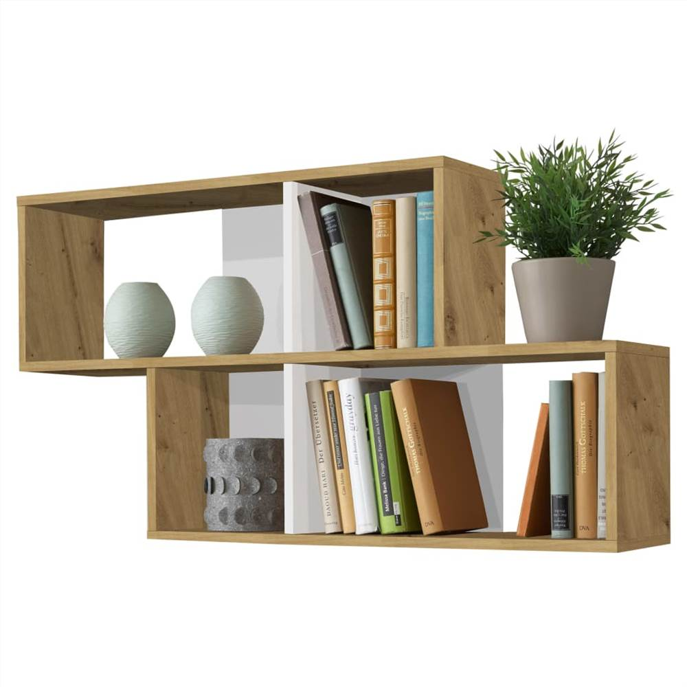 FMD Wall-mounted Shelf with 4 Compartments Antique Oak and Glossy White