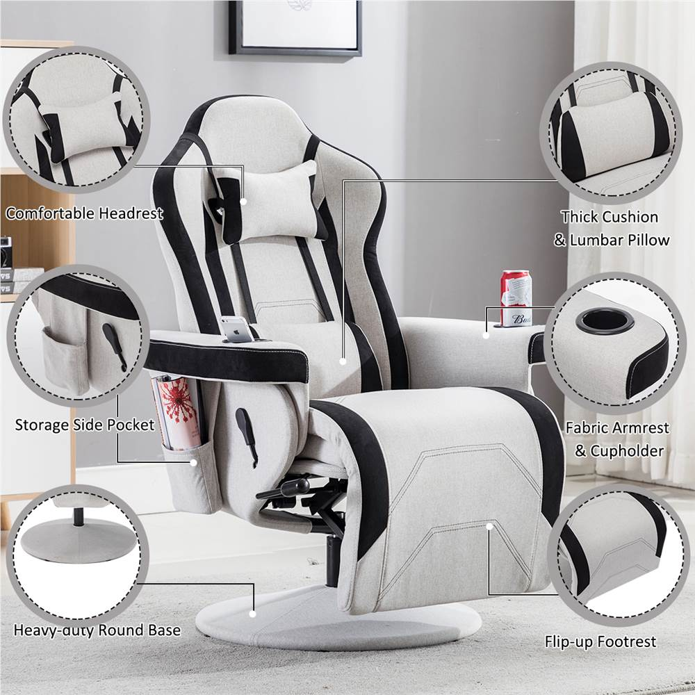 Gaming Chair Reclining, Round Base Gaming Chair