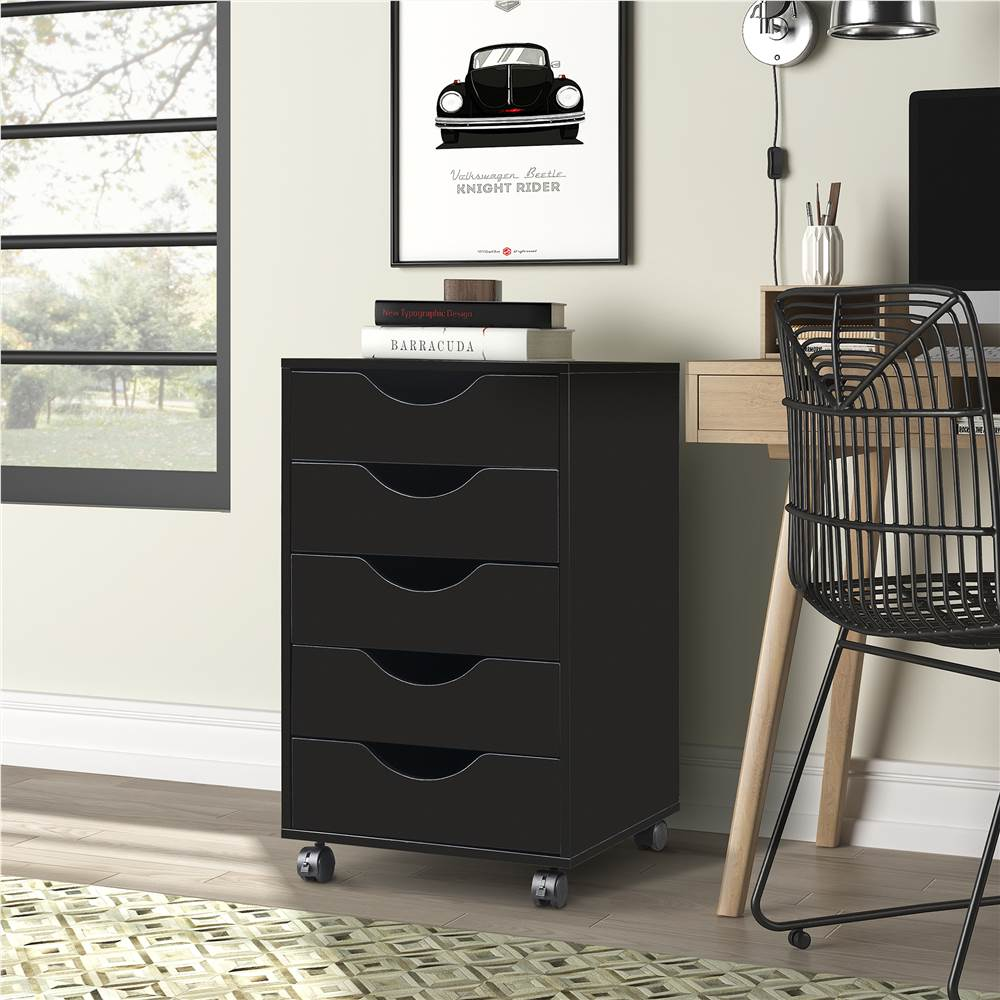 Home Office 5 Drawer Mobile Storage Cabinet with  locking casters(Black)