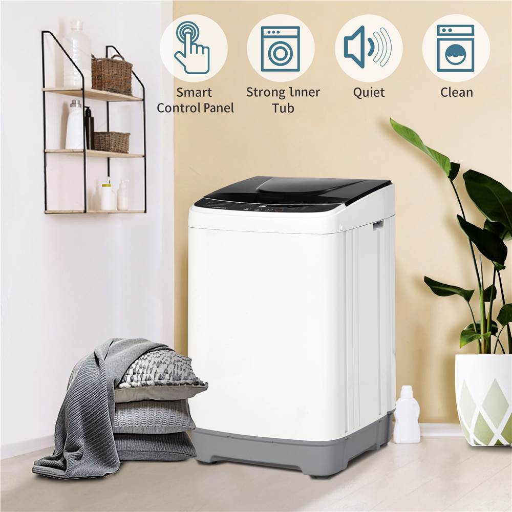 Full-Automatic Washing Machine, Portable Compact Laundry 12 lbs Load Capacity Washer with 10 Washing Programs, Ideal for Dormitory, Apartments, RV, Laundry Room