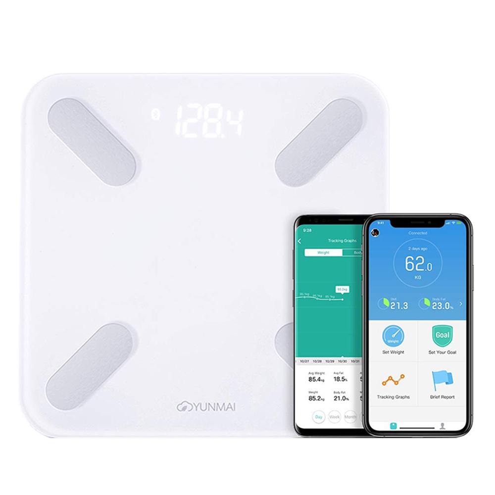 YUNMAI X חכם Bluetooth בקנה מידה שומן גוף נטענת סוללה נטענת APP - לבן