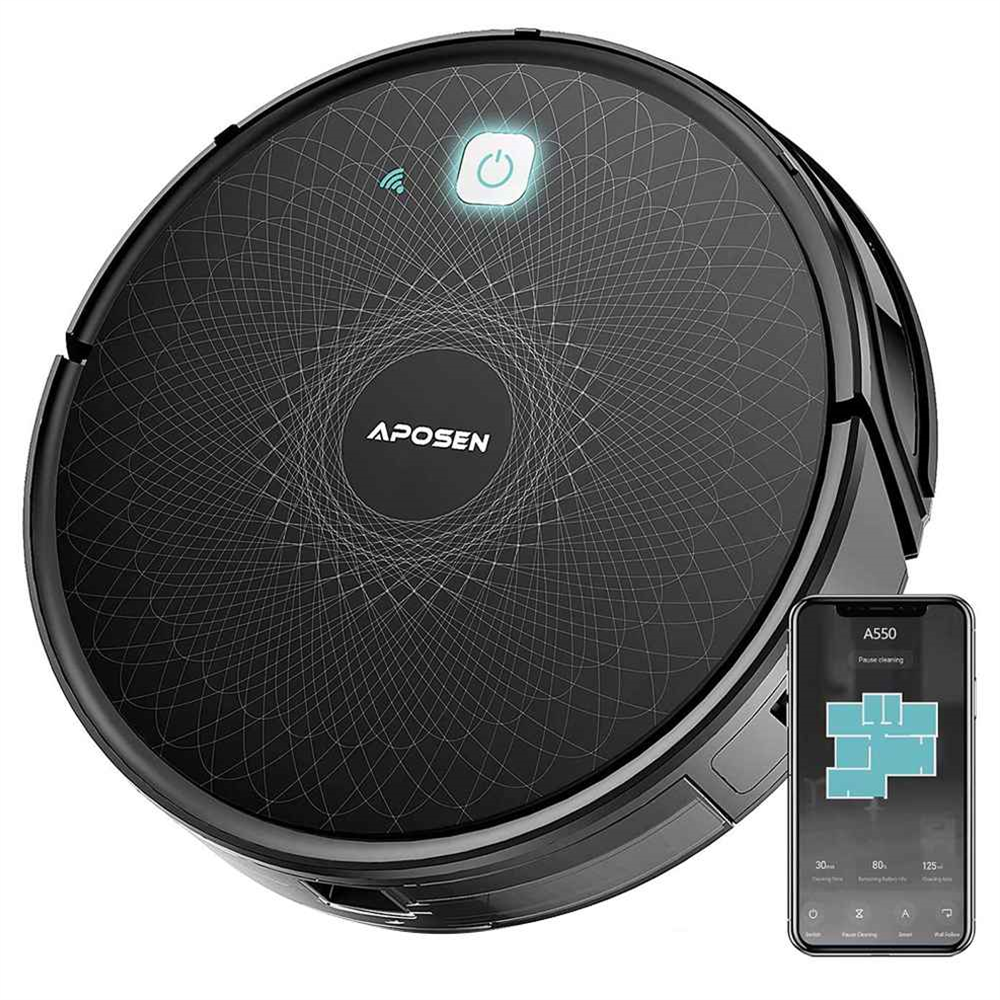 APOSEN A550 Ultra-thin Robot Vacuum Cleaner Integrated Sweeping and Mopping 6D Anti-collision Infrared Sensor 2500 mAh Lithium Battery APP Control - Black