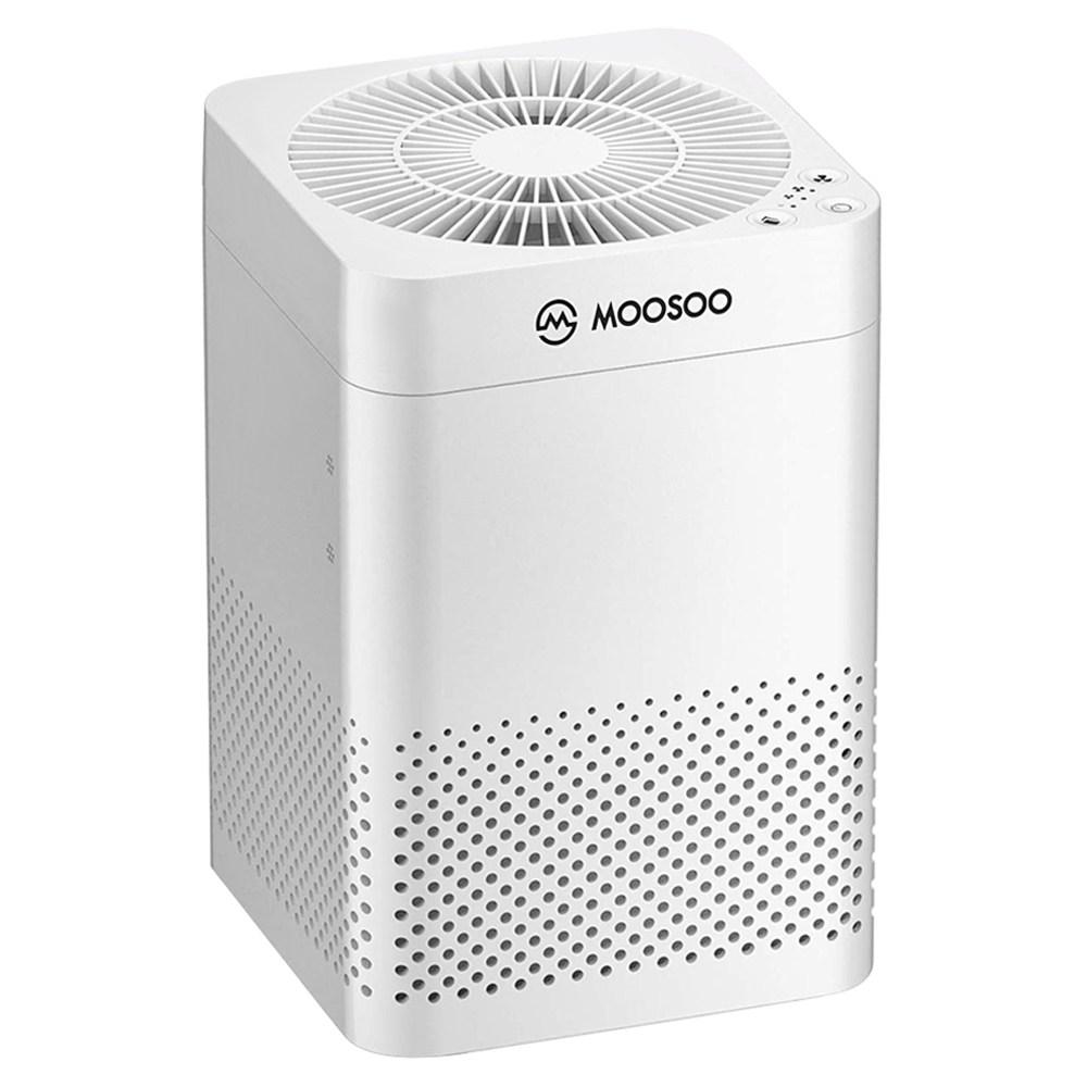 MOOSOO AC03 Καθαριστής αέρα με σύστημα φίλτρων HEPA 3 στρωμάτων για εξαιρετικά αθόρυβη αφαίρεση σκόνης, Pet Dander, καπνού και γύρης σε μεγάλα δωμάτια - Λευκό