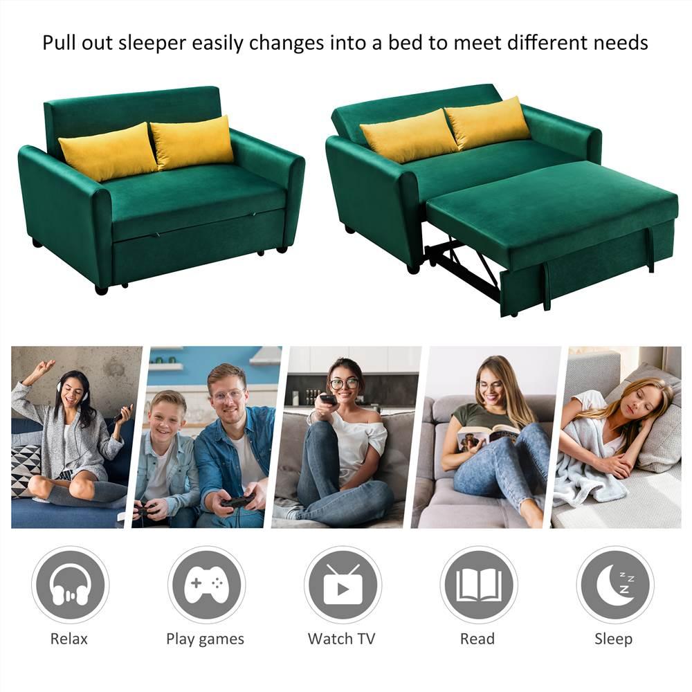 Canapé-lit gigogne multifonctionnel de 55 po en velours 2-en-1 allongé et assis avec 2 oreillers et roulettes, 2 sièges - Vert