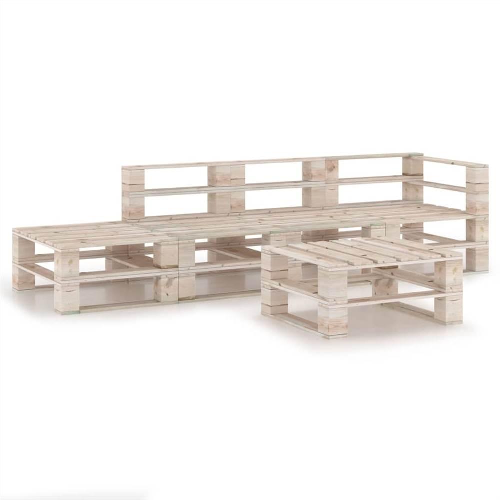 5 Piece Garden Pallet Lounge Set Pinewood