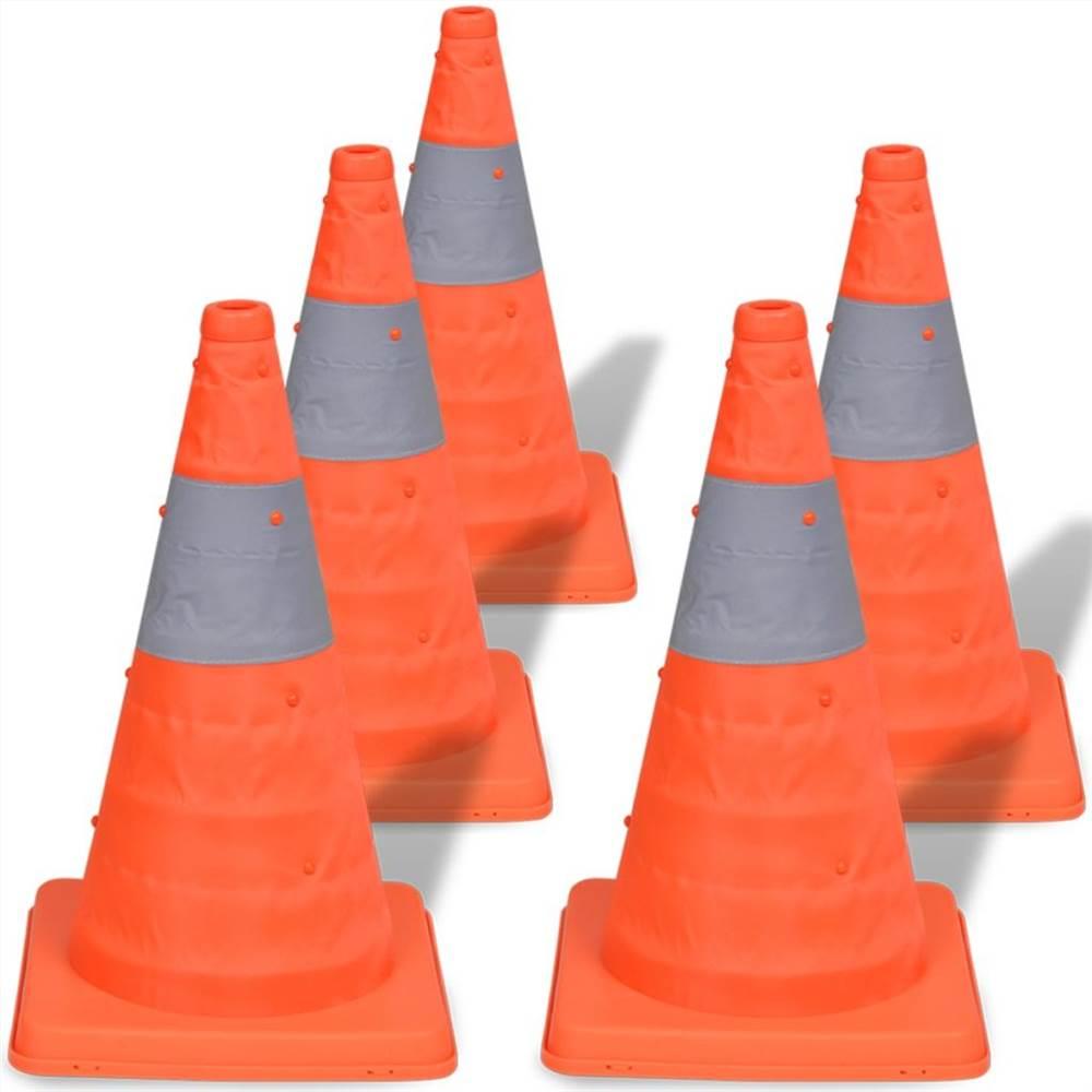 5 cônes de signalisation escamotables 42 cm