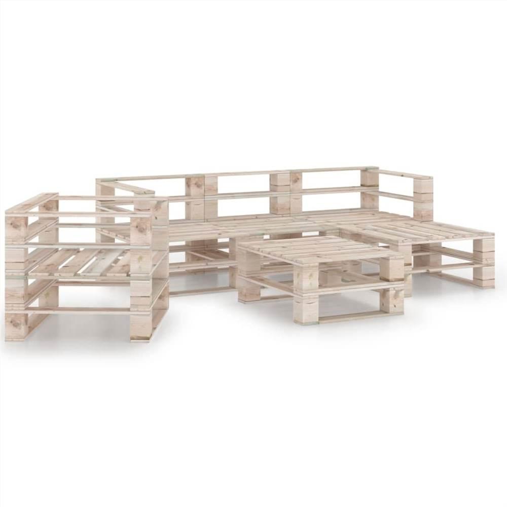 6 Piece Garden Pallet Lounge Set Pinewood