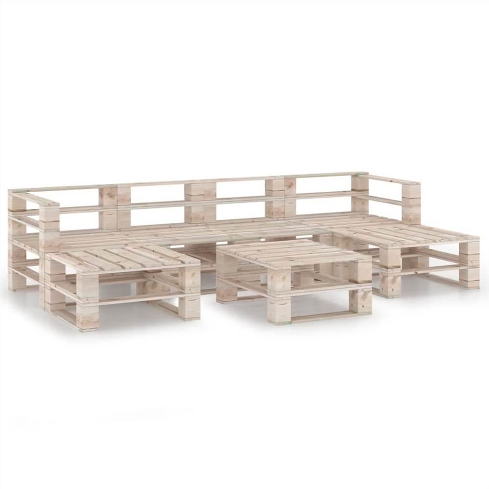 7 Piece Garden Pallet Lounge Set Pinewood