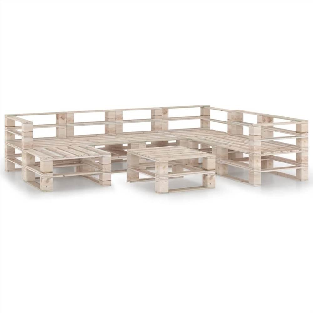 8 Piece Garden Pallet Lounge Set Pinewood