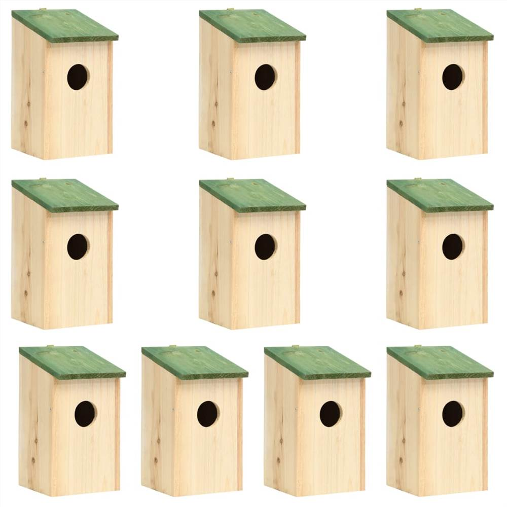 Bird Houses 10 pcs Solid Firwood 12x12x22 cm