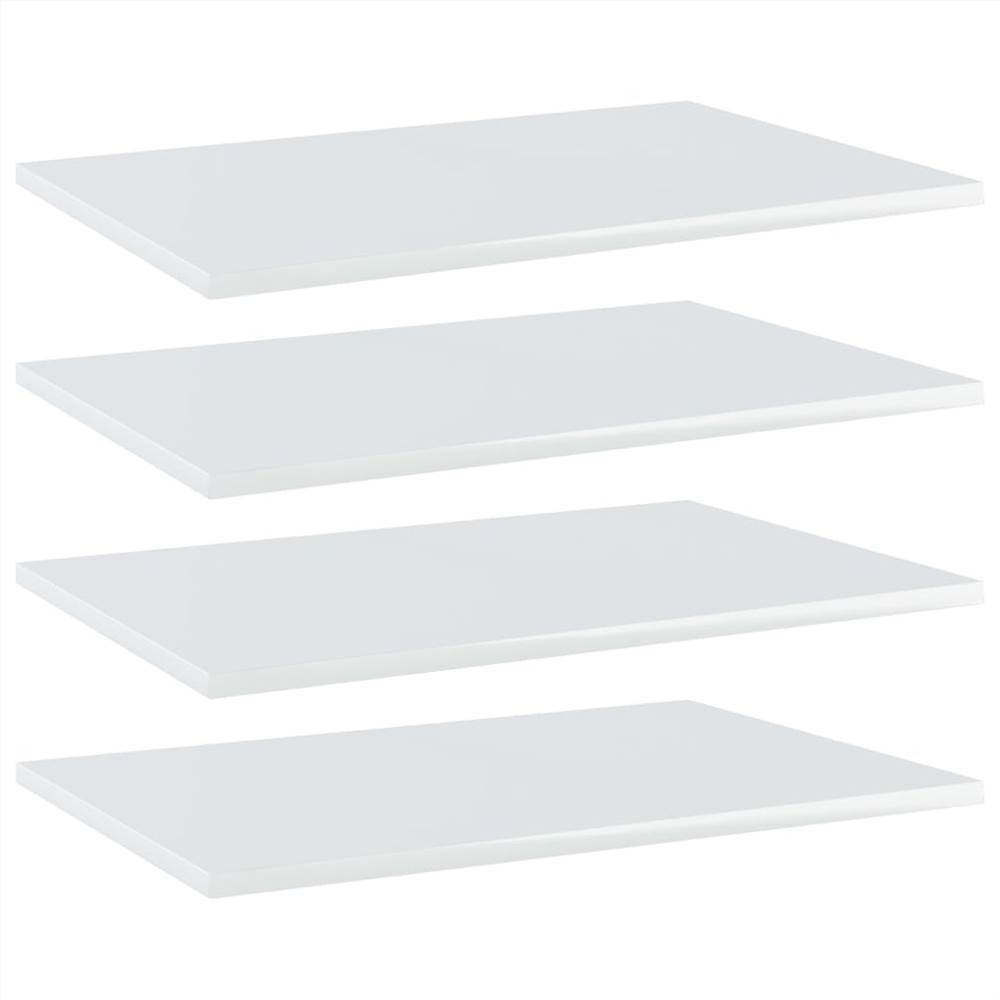 Bookshelf Boards 4 pcs High Gloss White 60x40x1.5 cm Chipboard