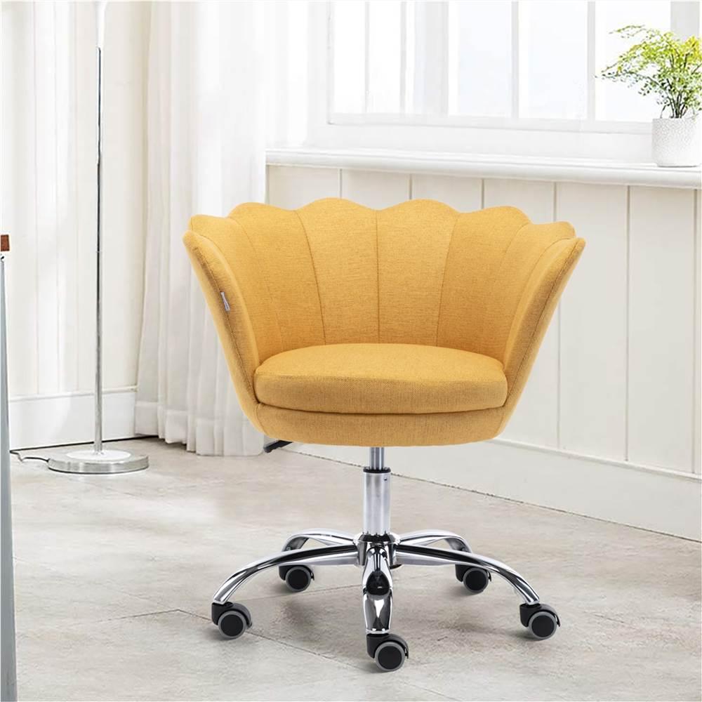 COOLMORE Chaise rotative en lin à coque réglable en hauteur avec dossier incurvé et roulettes pour salon, chambre à coucher - Jaune