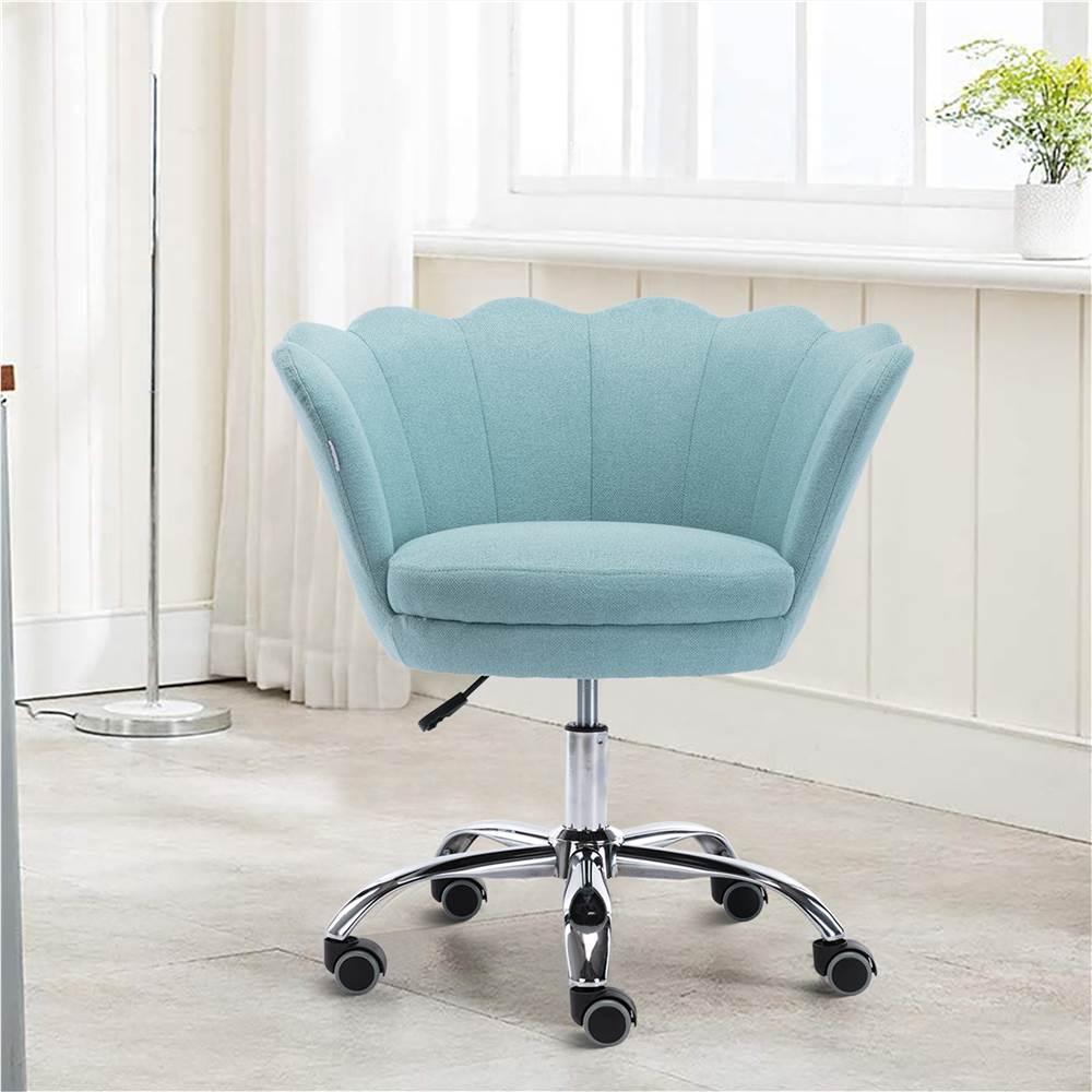 COOLMORE Chaise rotative en lin à coque réglable en hauteur avec dossier incurvé et roulettes pour salon, chambre à coucher - Vert menthe