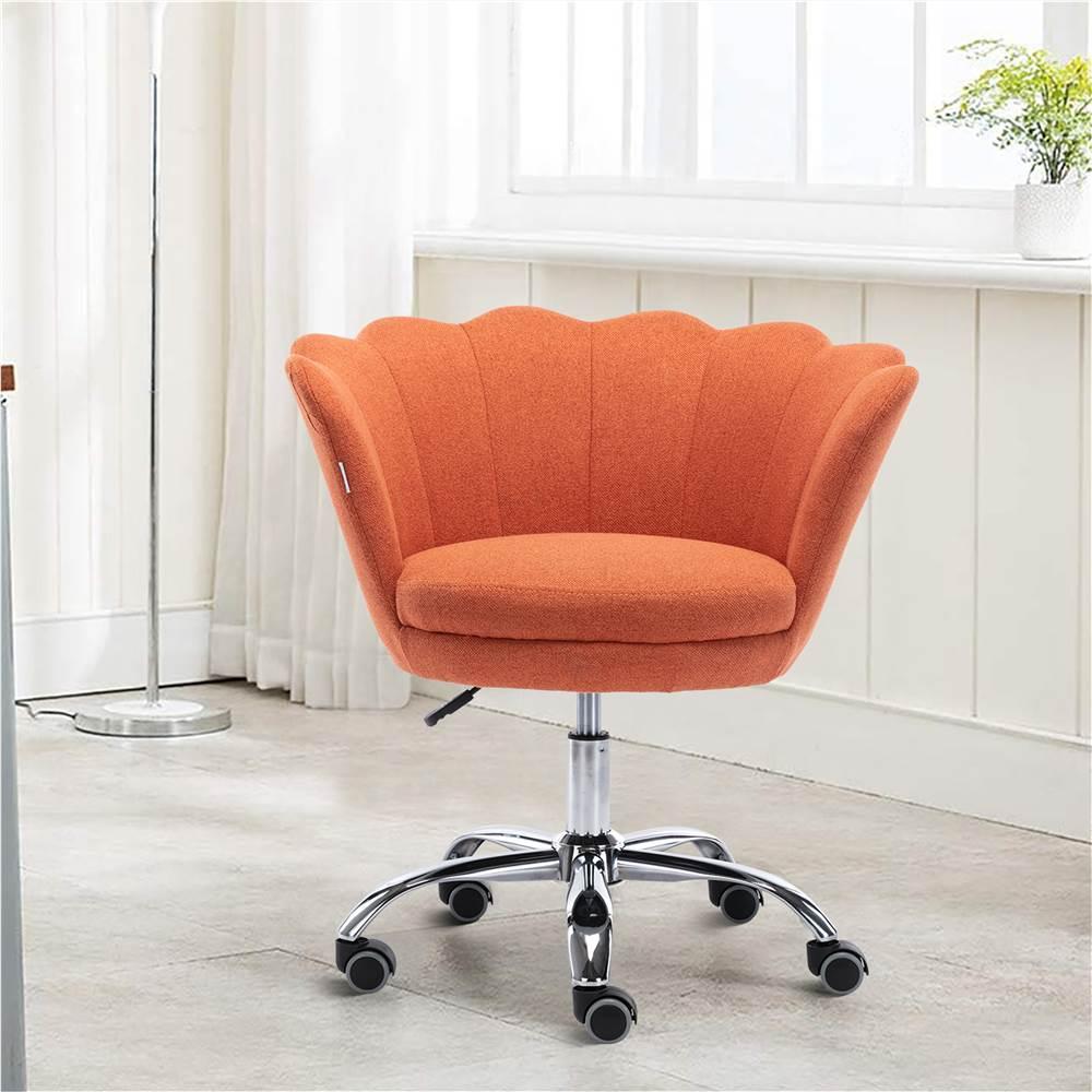 COOLMORE Chaise Coquille Rotative en Lin Réglable en Hauteur avec Dossier Courbé et Roulettes pour Salon, Chambre - Orange