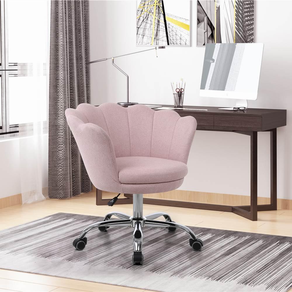 COOLMORE Chaise Coquille Rotative en Lin Réglable en Hauteur avec Dossier Courbé et Roulettes pour Salon, Chambre - Rose