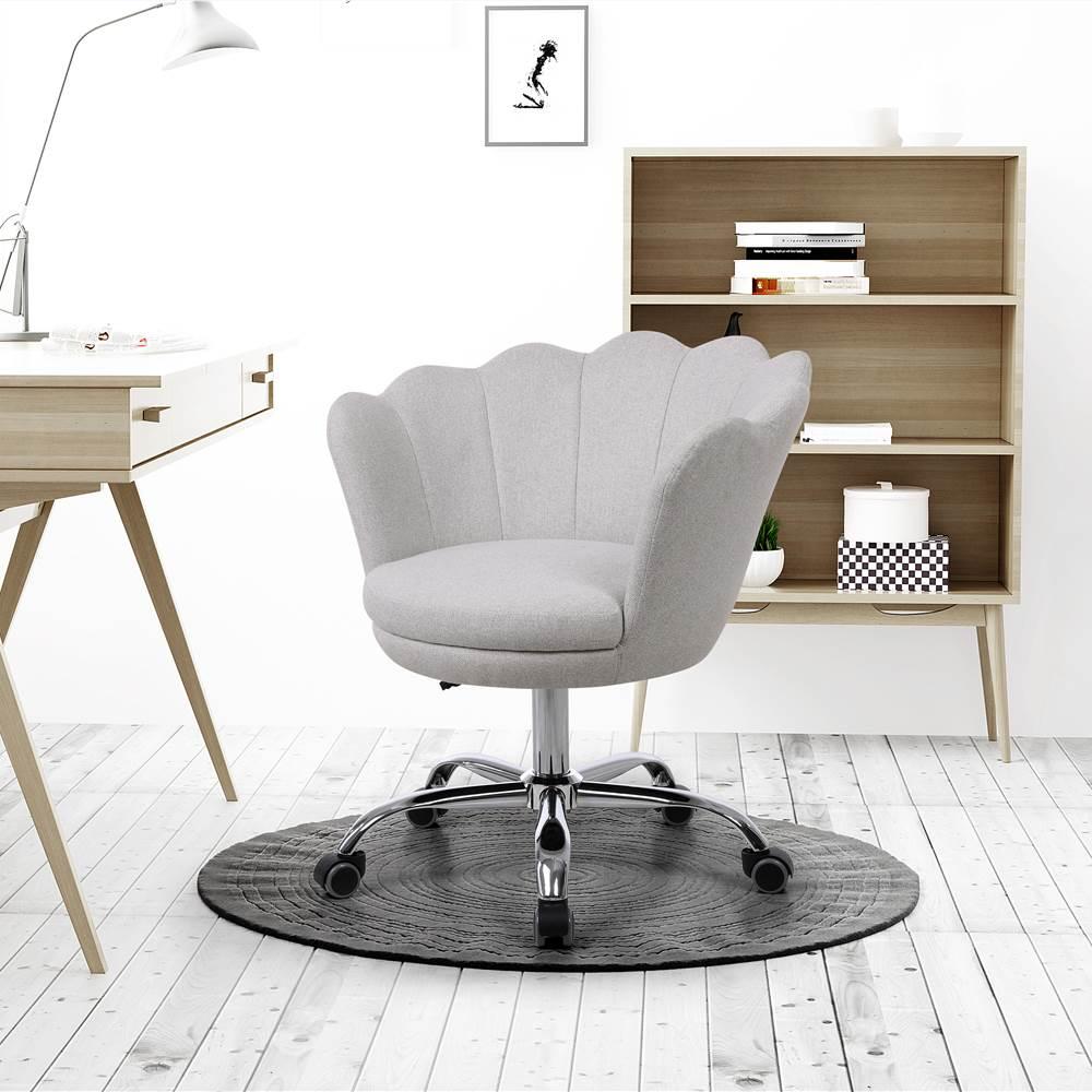COOLMORE Chaise rotative en lin à coque réglable en hauteur avec dossier courbé et roulettes pour salon, chambre à coucher - Beige