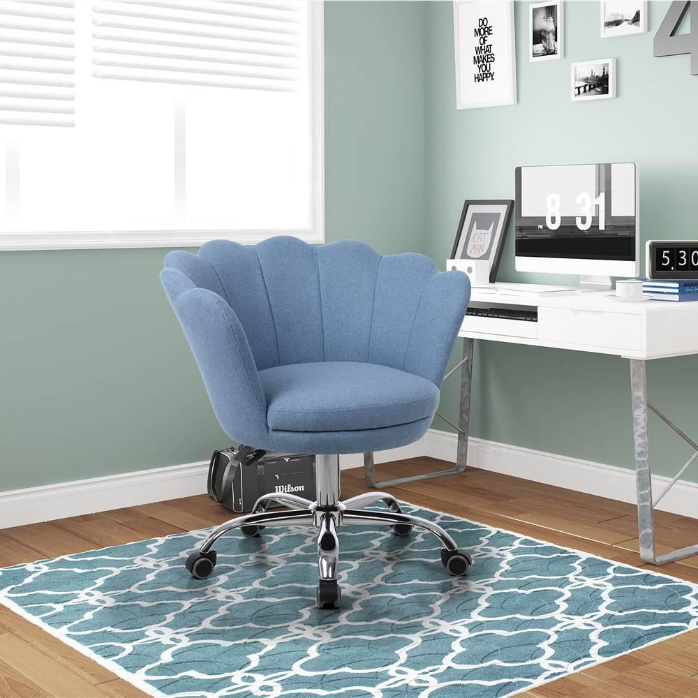COOLMORE Chaise rotative en lin à coque réglable en hauteur avec dossier incurvé et roulettes pour salon, chambre à coucher - Bleu