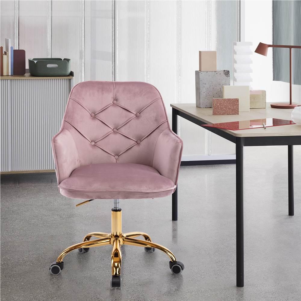 COOLMORE Chaise rotative en velours à coque réglable en hauteur avec dossier incurvé et roulettes pour salon, chambre à coucher - Rose