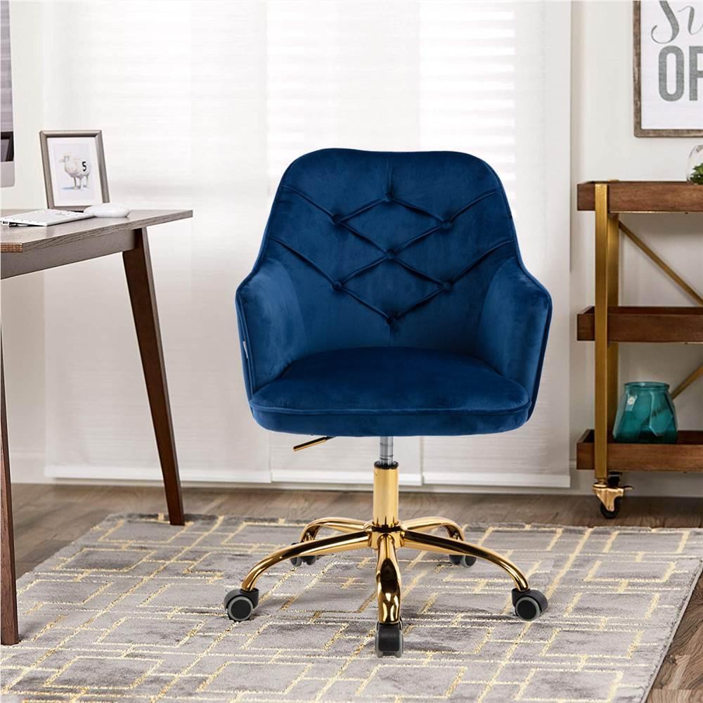 COOLMORE Chaise rotative à coque rotative en velours réglable en hauteur avec dossier incurvé et roulettes pour salon, chambre à coucher - Marine