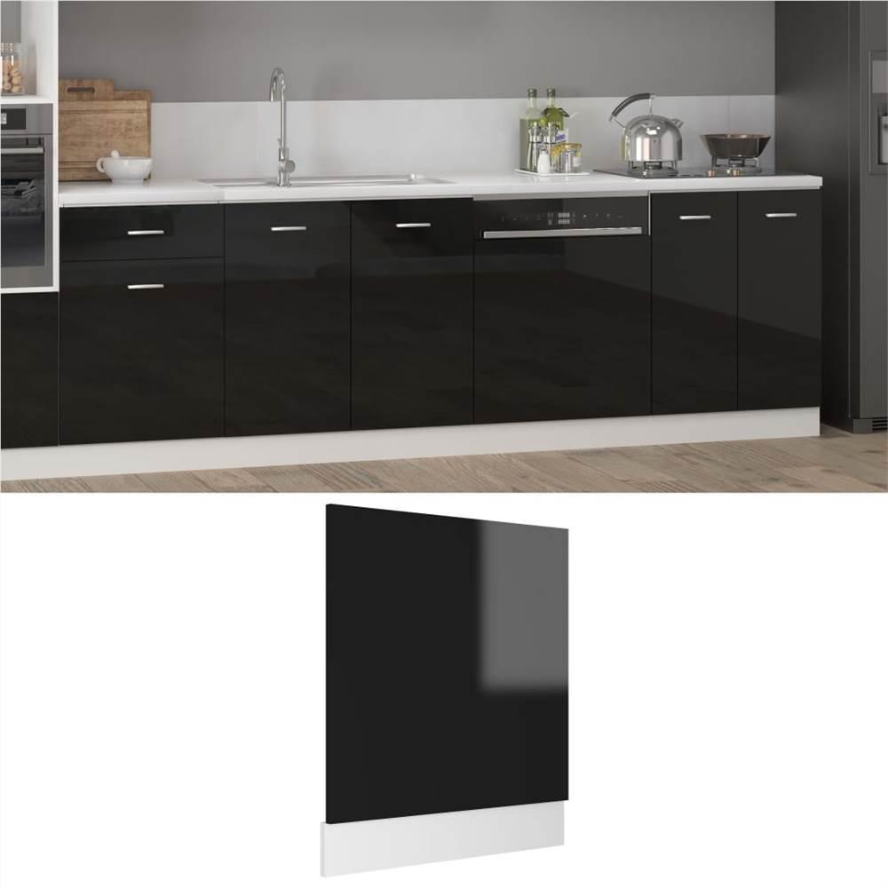 Dishwasher Panel High Gloss Black 59.5x3x67 cm Chipboard