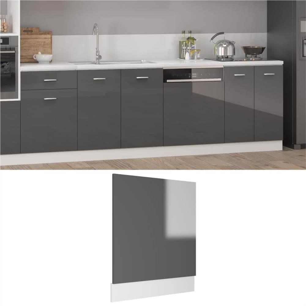 Dishwasher Panel High Gloss Grey 59.5x3x67 cm Chipboard