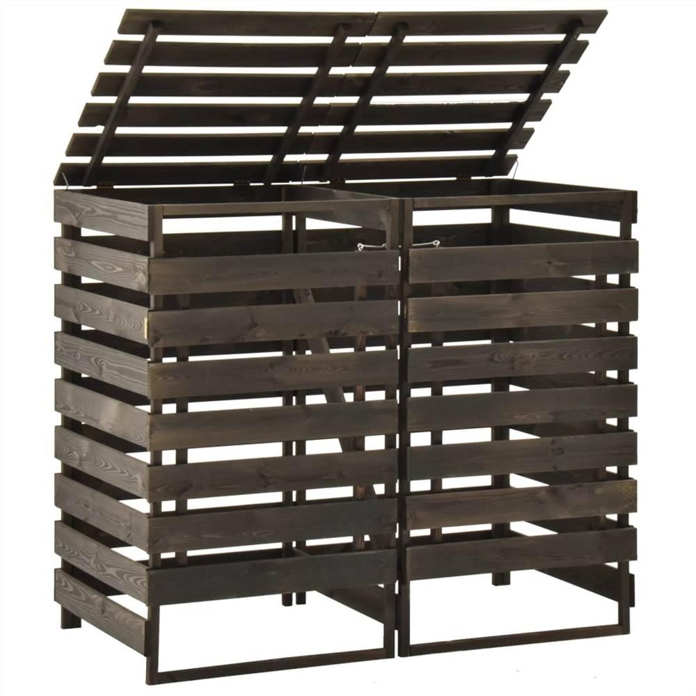 Διπλό Wheelie Bin Shed 140x75x121 cm Βαμμένο συμπαγές ξύλο Pinewood